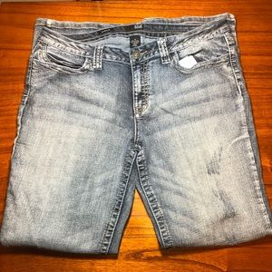 a.n.a distressed modern fit boot cut jeans
